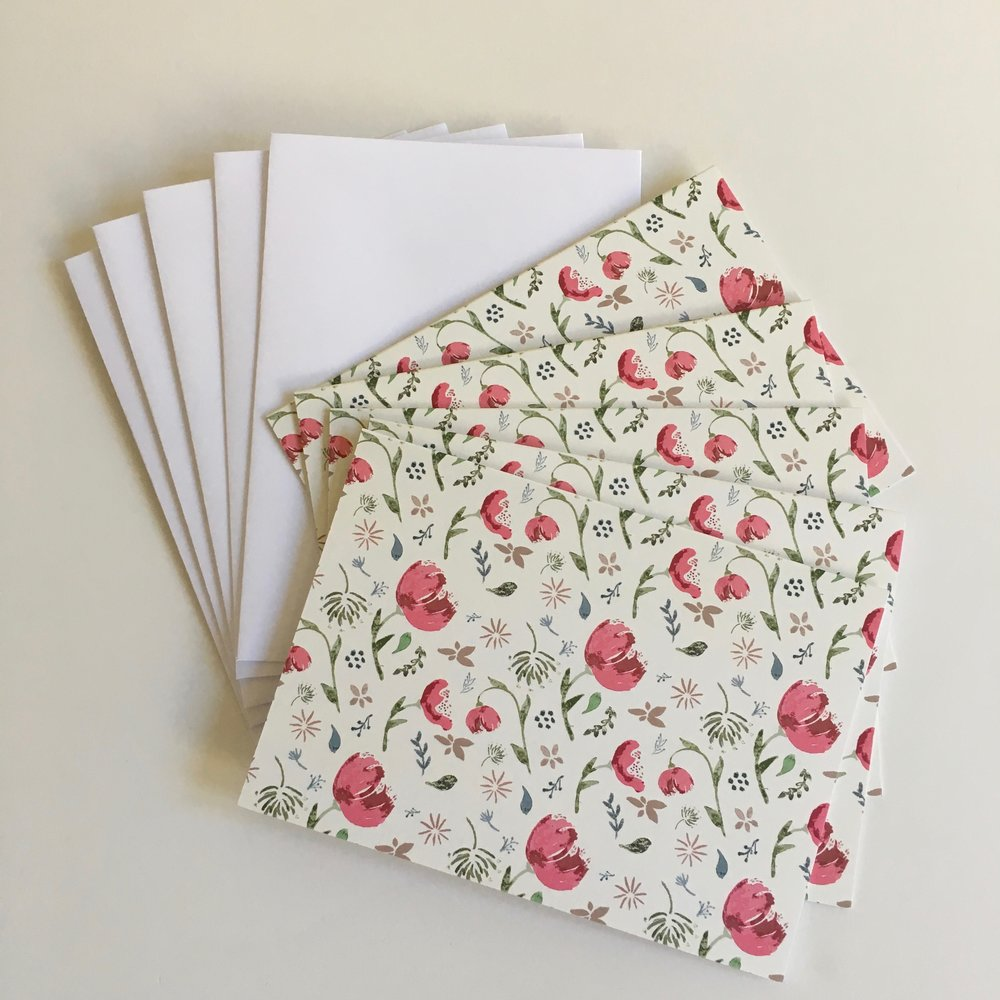 Watercolor cards - red