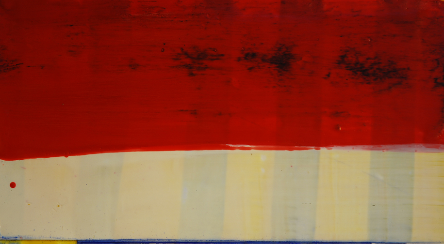 Red White and Blue- encaustic on paper,9.5 x 15 inches