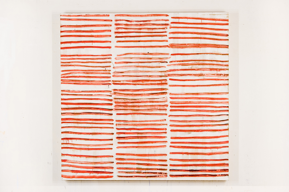 Red Waves- encaustic on wood panel, 60 x 60 inches