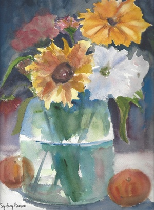 Vibrant Flower Arrangement In A Vase Watercolor Print Peachy Paintings
