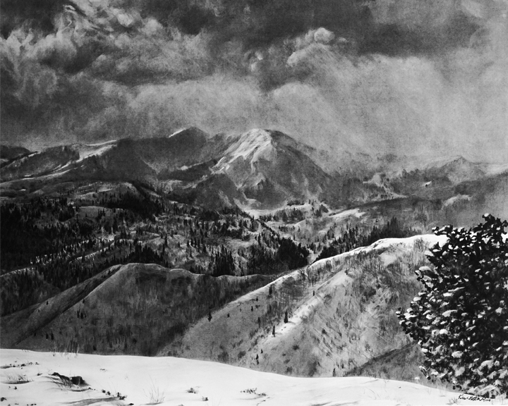 "Viewpoint: From Guardsman Pass looking South, North Central Utah. 43"" x  36"" Charcoal on Paper"