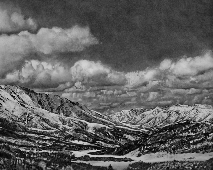 "Viewpoint: From Parley's Canyon Summit looking Westward. 40"" x 36"" Charcoal on Paper"