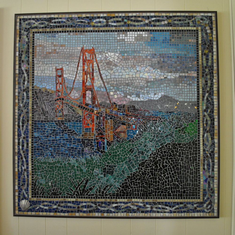 GOLDEN GATE BRIDGE MOSAIC 3' X 3'