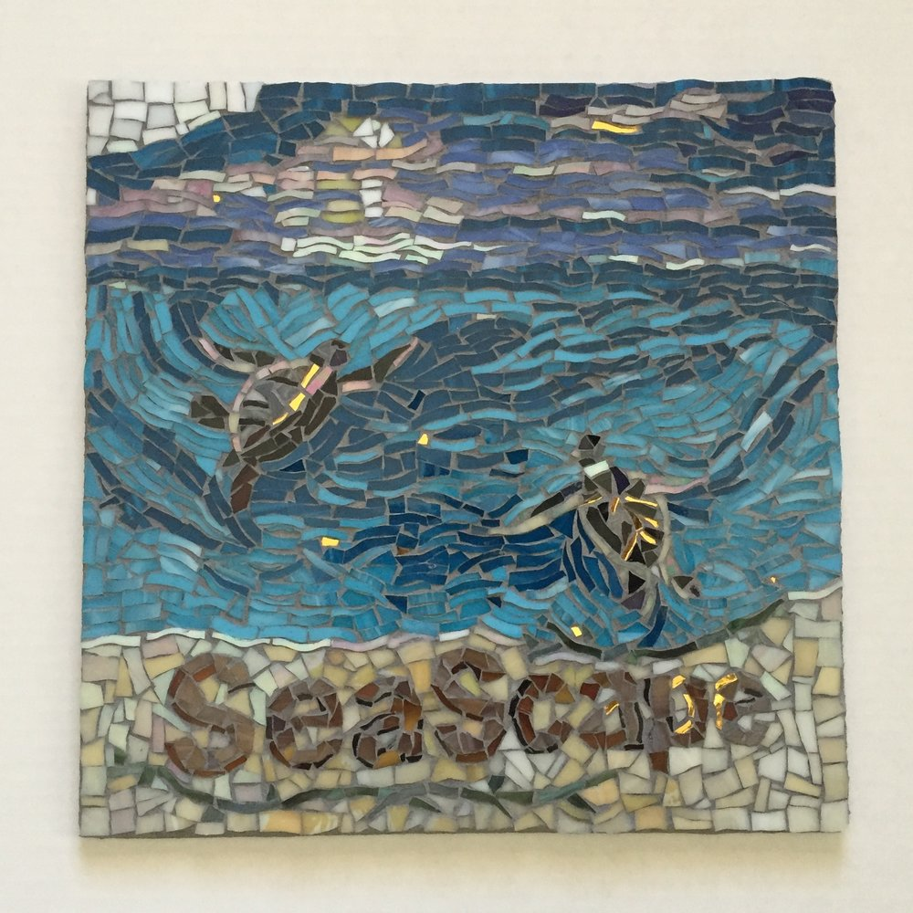 SEASCAPE TURTLE SHOWER MOSAIC