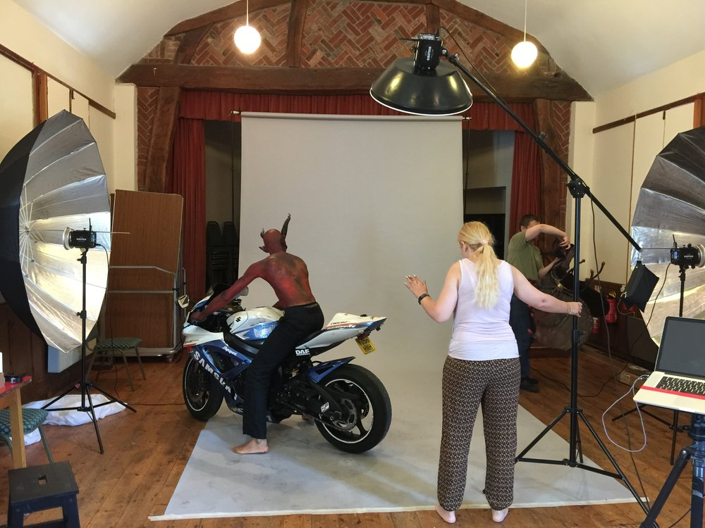 Even Paul's motorbike was in good use for the photoshoot.
