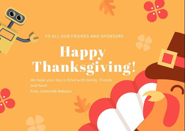 Happy Thanksgiving from our family to yours! We're so incredibly thankful for all of the support from our sponsors who ensure we can continue spreading STEM throughout our community, and we're also beyond thankful for our wonder mentors and parents who dedicate hours of their lives every week to helping us students follow our passion. We hope everyone has a wonderful Thanksgiving! 🤖🦃 #morethanrobots