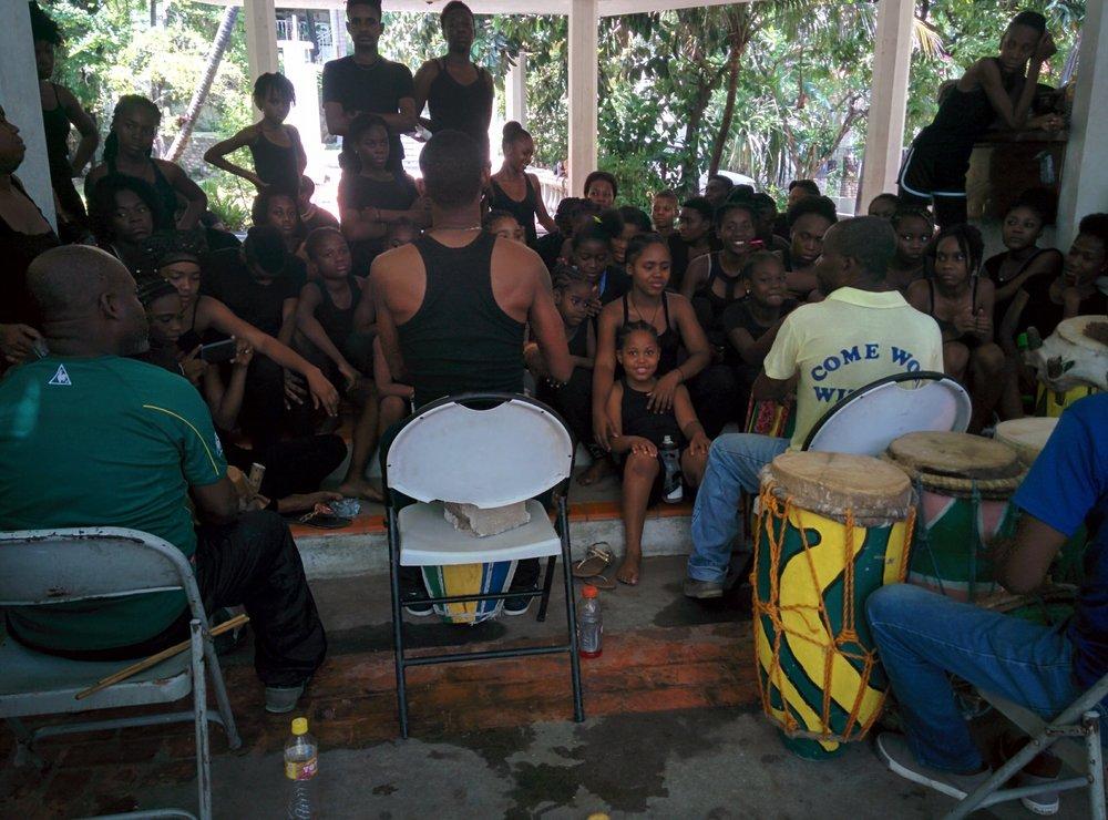 Haitian drum class on history and rhythms.
