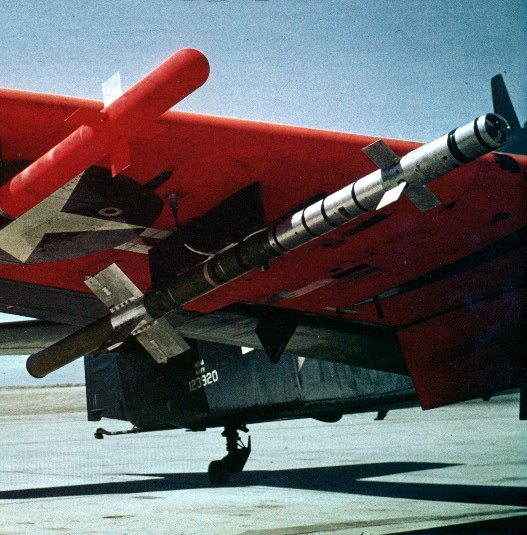 """The """"Heat-Homing Rocket"""": developmental Sidewinders mounted for test flight; guided missiles, per se, were specifically excluded from the Station's charter at one time."""
