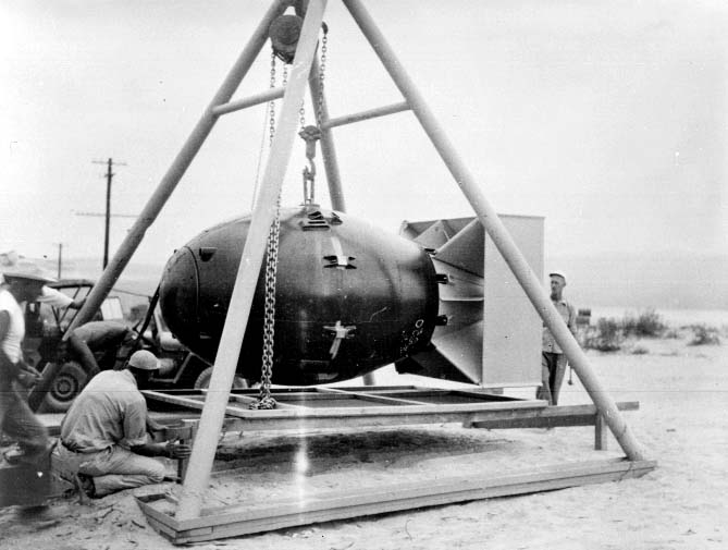 "Packing a ""Fat Man"" test shape at China Lake Salt Wells Pilot Plant, a highly secret facility of the Manhattan Project; bomb-shape drops and explosives and explosive-lens development and production were part of Project Camel at NOTS; Salt Wells' relationship to the A-Bomb project and, later, to the AEC, remained secret for decades thereafter."