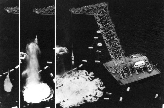 """Polaris test round recovery by the """"Fishhook"""" barge at China Lake's San Clemente Island facility; part of Operation Pop-Up, Fishhook caught the submerged-launch-test round at apogee, preventing fallback damage; China Lake also did rocket motor T&E and helped shape the original concept of the Polaris system."""