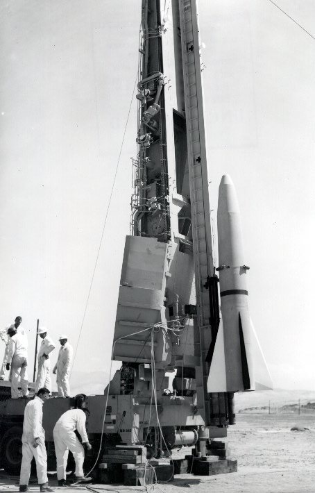 "Set up for ground launch of Satellite Interceptor Program (SIP) test vehicle, August 1961; a follow-on to China Lake's ""NOTSNIK"" air-launched satellite and Caleb space-probe projects, SIP was a prototype air-launched satellite-killer system using primarily in-house technology and hardware."