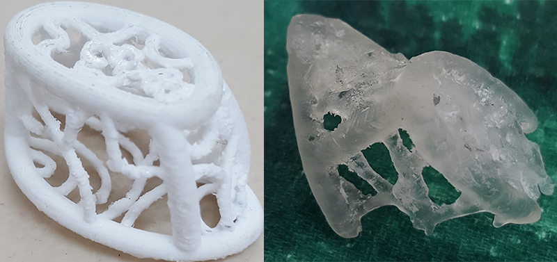 The white model on the left is printed using a type of plastic called ABS, when the piece is first complete it is covered in scaffolding which the printer adds to help it create the correct structure. On the right is a castable resin version of the model (only part of it because the machine ran out of resin). A different type of 3D printer is used for this and once the piece is printed it can be used directly to cast the model in metal. The castable resin piece has a slightly better finish but the scaffolding on it is structured differently so is a lot harder to remove. I haven't tried it yet but I also wondered if using wax wires would be a quicker and easier way to make samples, so that's probably what I will do next.
