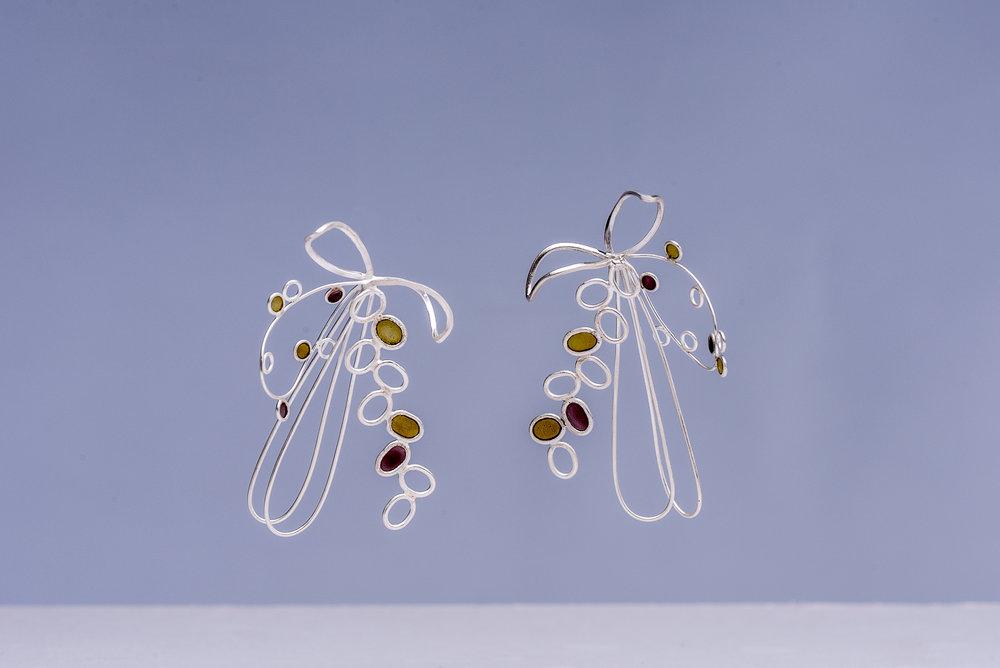 Earrings  Silver with Plique àJour Enamel