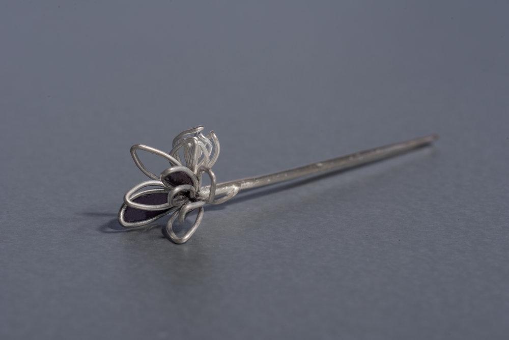 Brooch Pin  Silver with Plique àJour Enamel