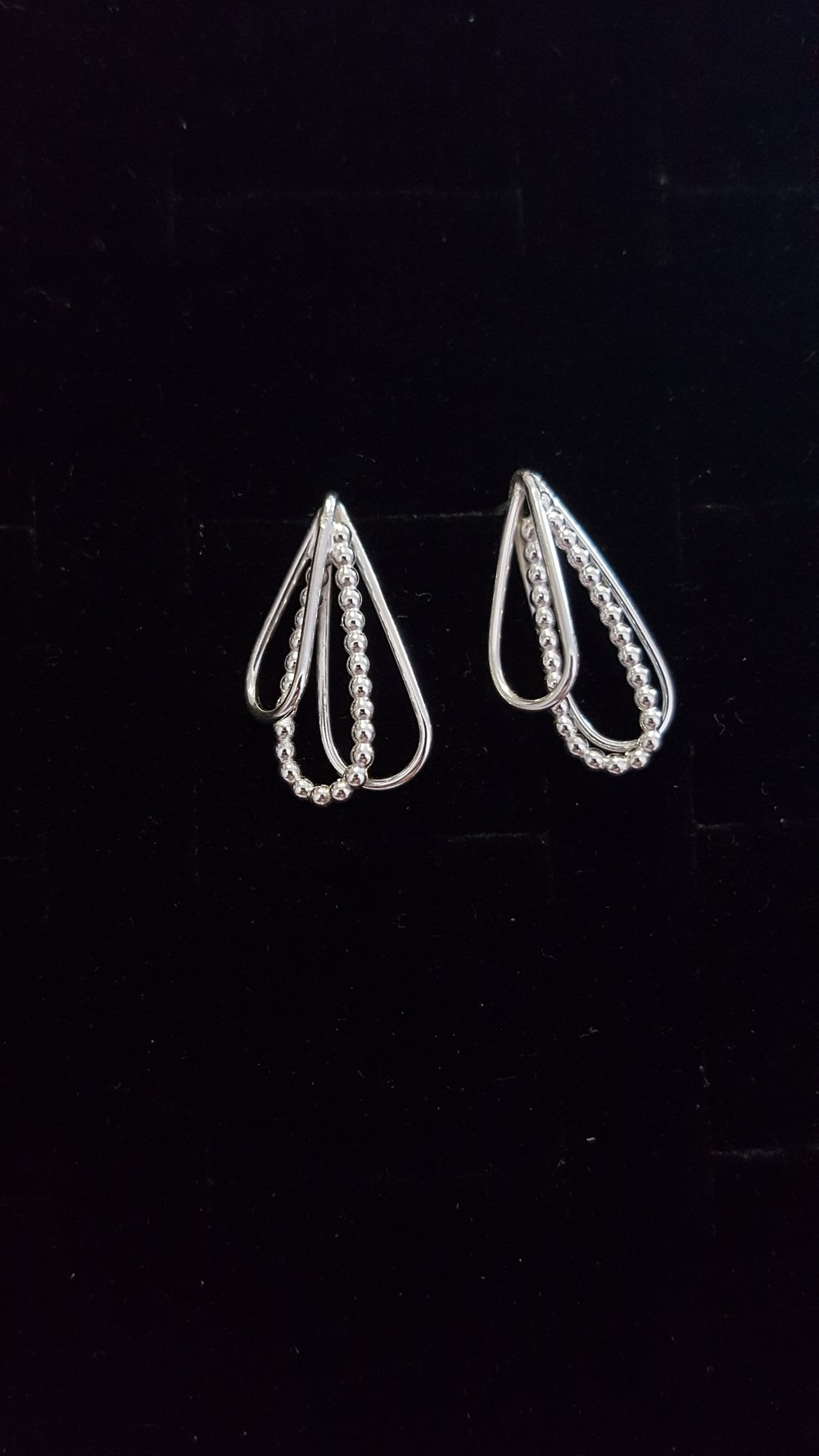 Petal Drop Earrings, Silver £70