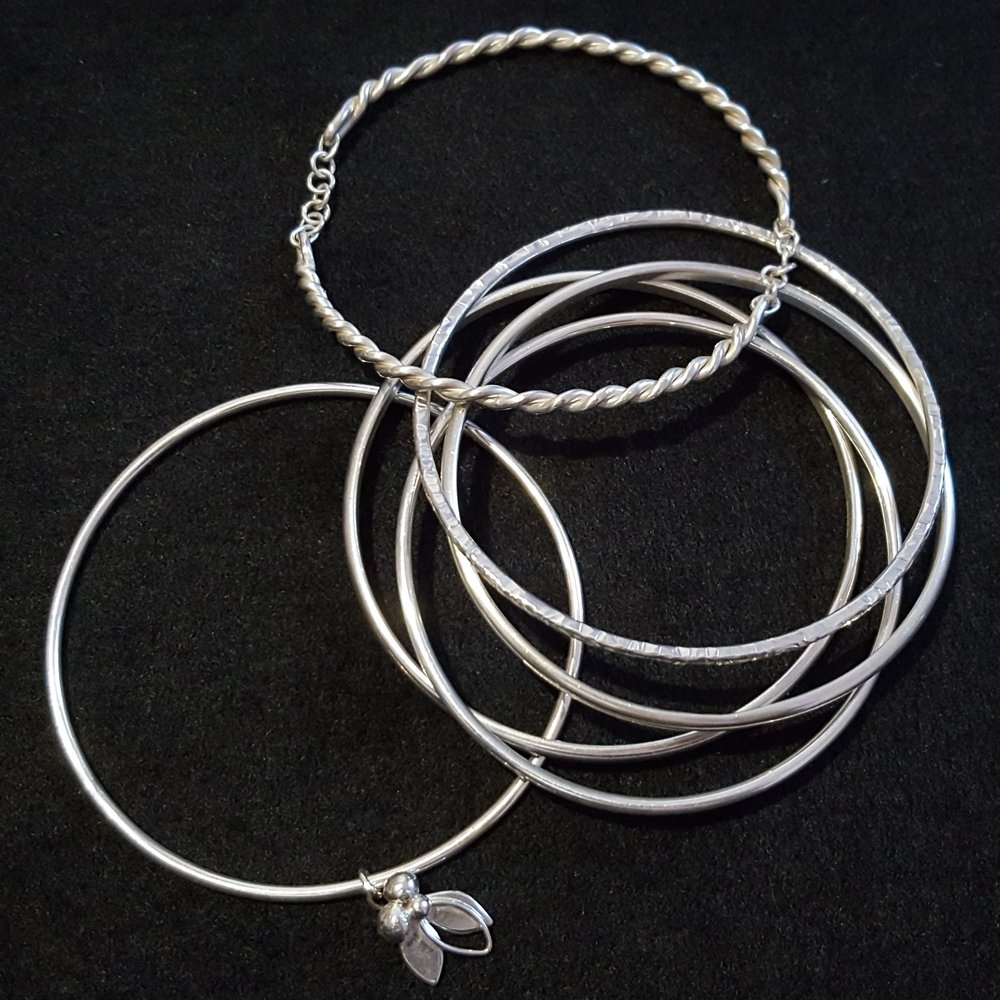 Bangles, Silver Plain £50, Heavy Plain £55, Detail Bangles £60