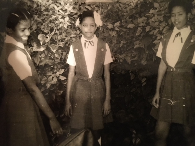 A photo of my mother, Carmelite, (middle) and her two older sisters in their school uniforms in Port-au-Prince, Haiti.