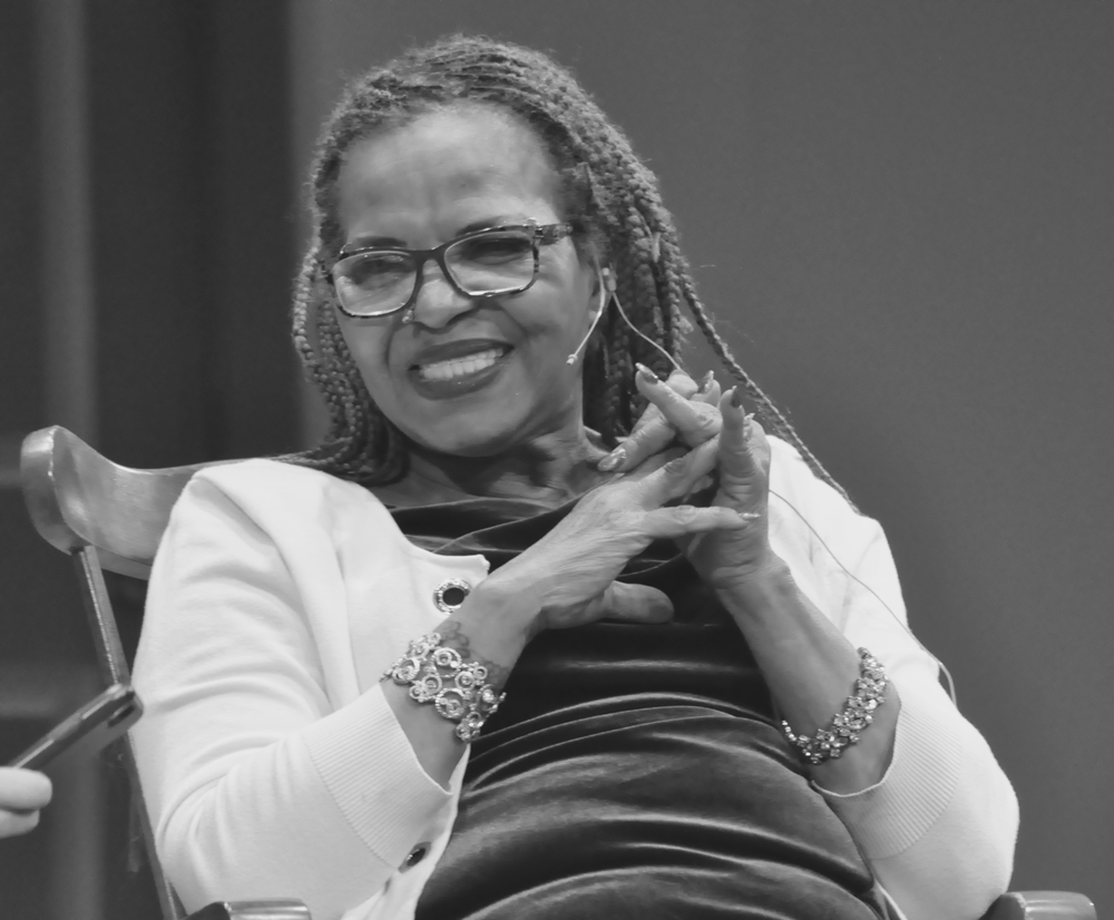 Ntozake Shange giving the keynote at the South Bend Civic Theatre on April 27, 2018.