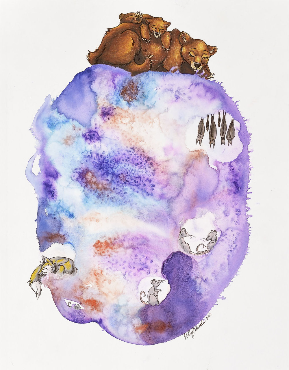 'Mama Bear, Baby Bear', Watercolor and Colored Pencil, SOLD