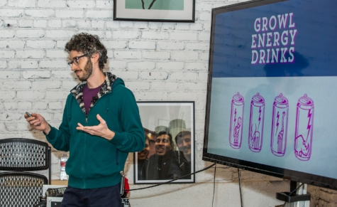 Daniel Reskin, Comedian & Pitch Lab Stand-Up Comedy Coach, Pitching Energy Drinks for Zoo Animals!