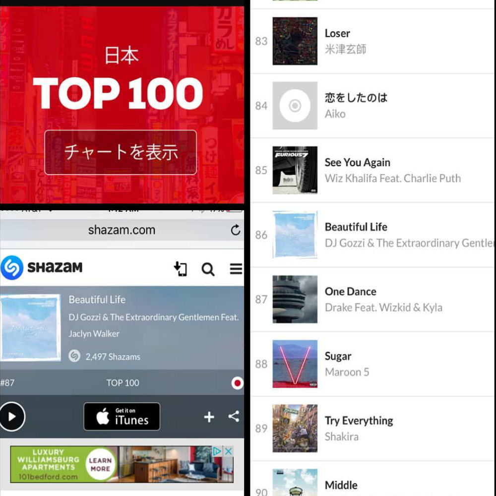 Beautiful Life Top 100 Japan Shazam Charts