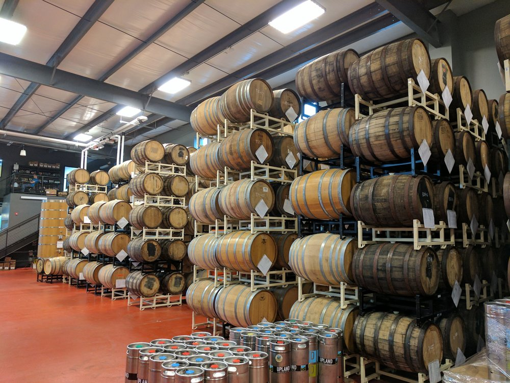 Upland Brewing Wood Shop Barrel Storage