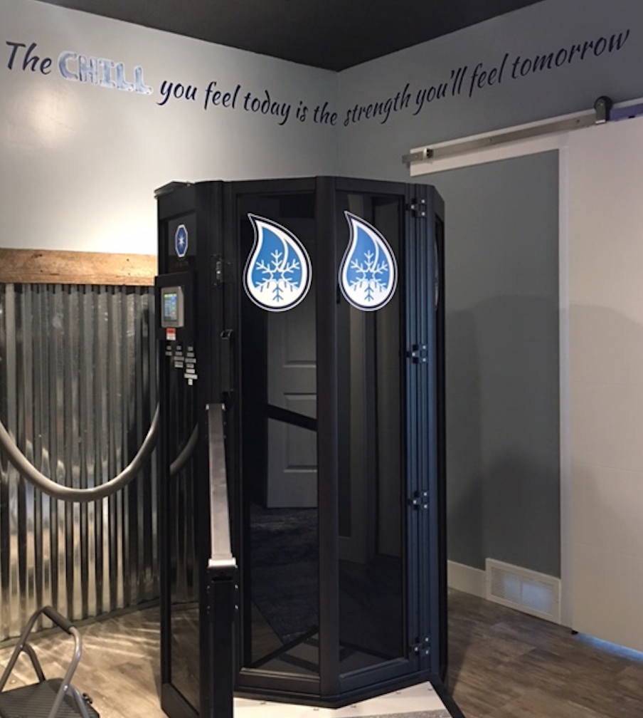 This is the Whole Body Cryotherapy CryoSauna. This state of the art equipment is found at Cryo Lodge cryotherapy spa in Park City, Utah.