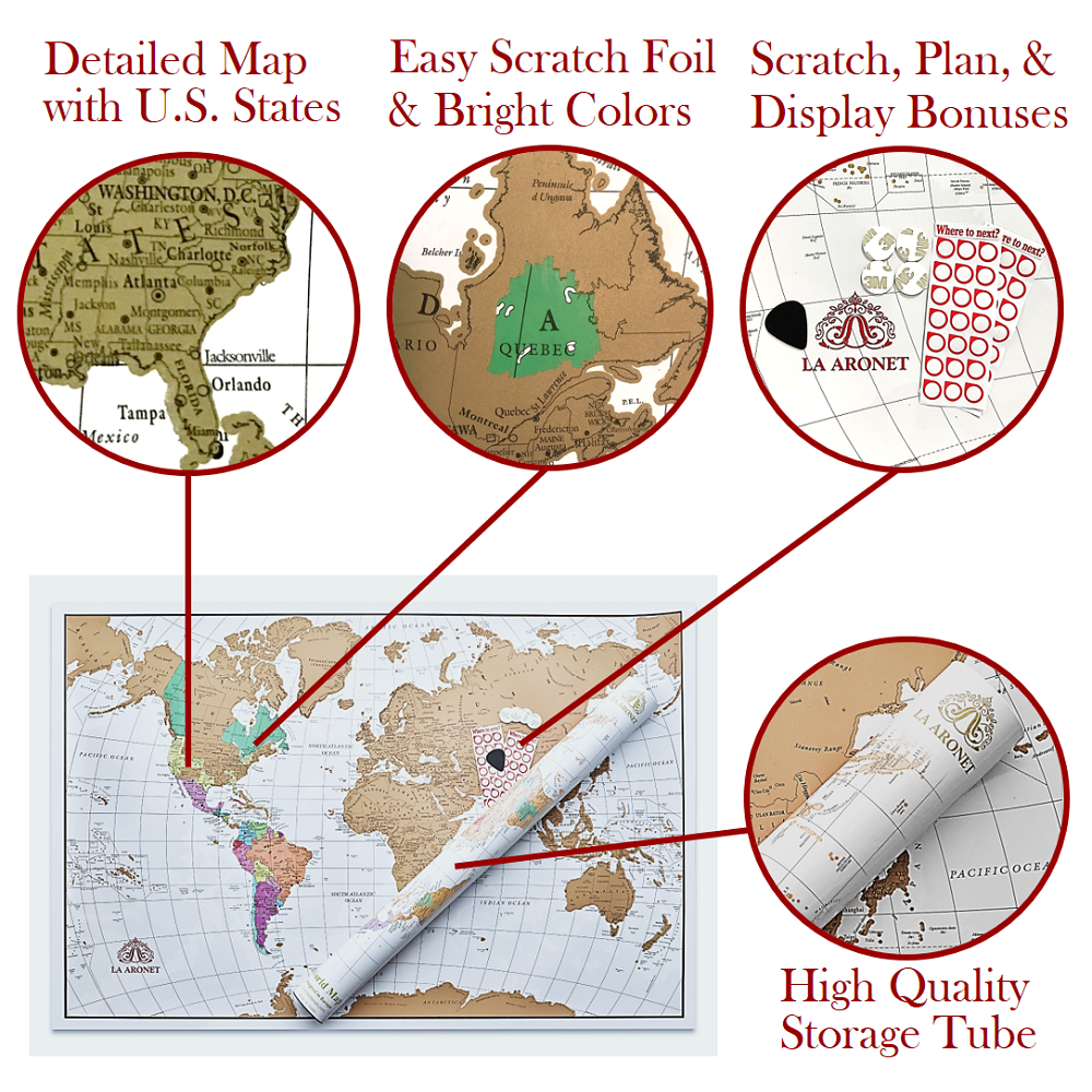 Cartography autobiography   We designed our scratch world map to have detailed cartography and many other benefits that include:  Topography  Capitols  Bodies of Water  Rivers  All U.S. States  Islands  Territories  Many Vibrant Colors!  High Quality Map Material for Easy Scratching  Bright, Elegant Gold Foil  Storage Tube  Wall Stickers for Placing on Your Wall  Map Scratcher Pick  GPS Location Stickers  Classic Poster Size (22.375in x 34in)