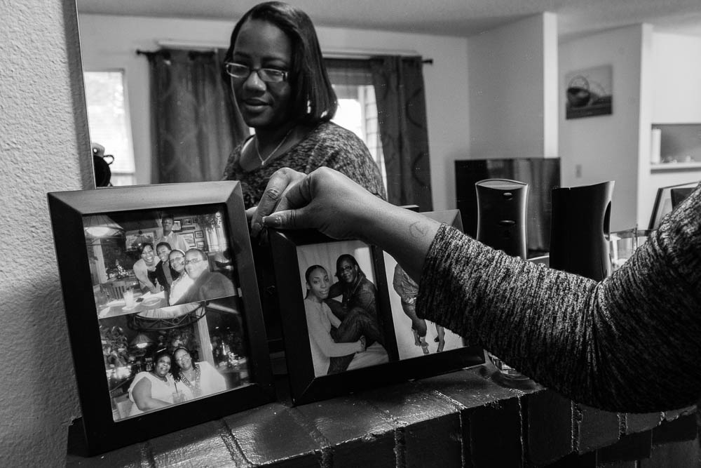 Keshena with photos of family and friends.