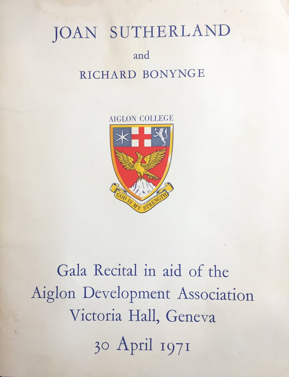 The 1971 Sutherland-Bonynge Geneva Gala Rccital program cover.