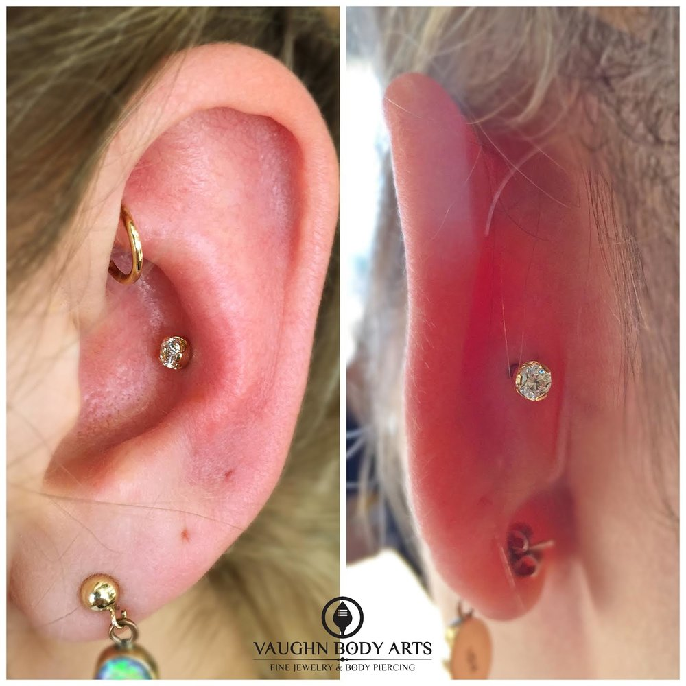 Conch piercing with 18k yellow gold prong-set cz's from Anatometal.