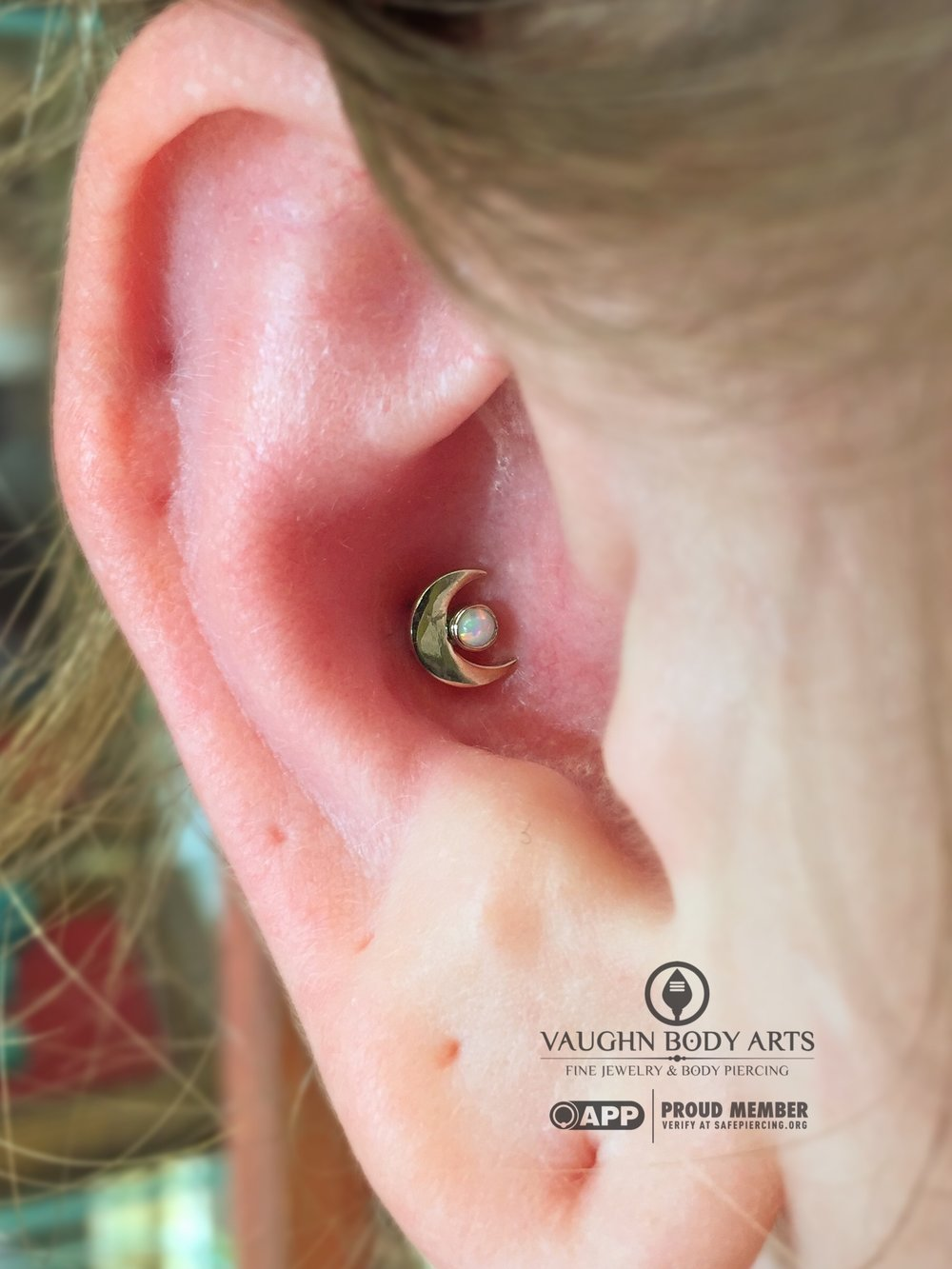 Conch piercing with an 18k white gold and opal crescent moon from Anatometal.