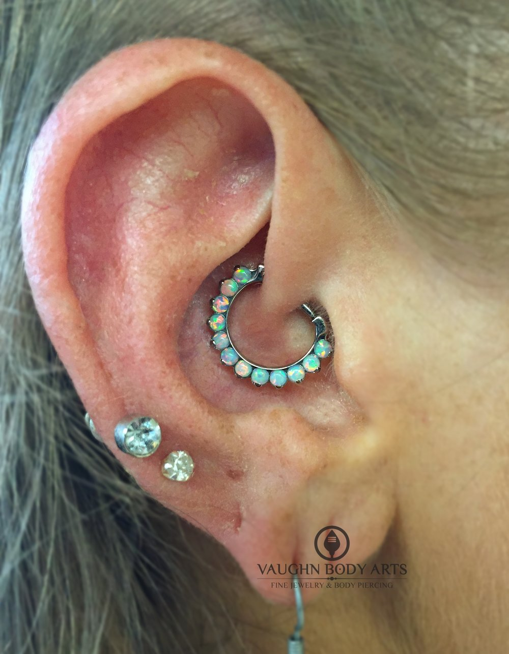 Daith piercing with titanium jewelry from Industrial Strength.