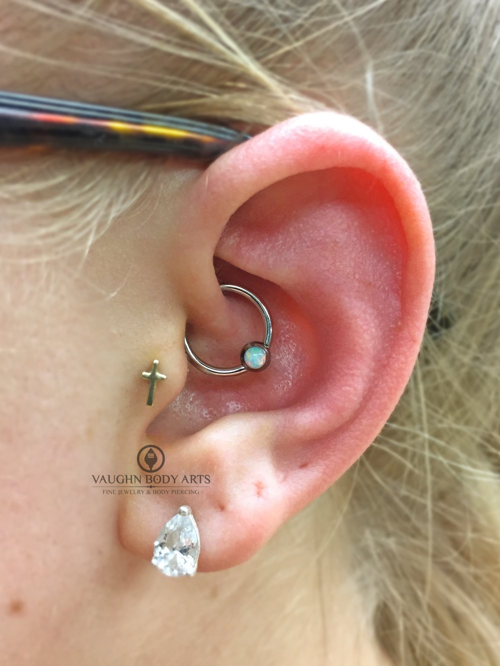 Daith piercing with titanium jewelry from Anatometal.