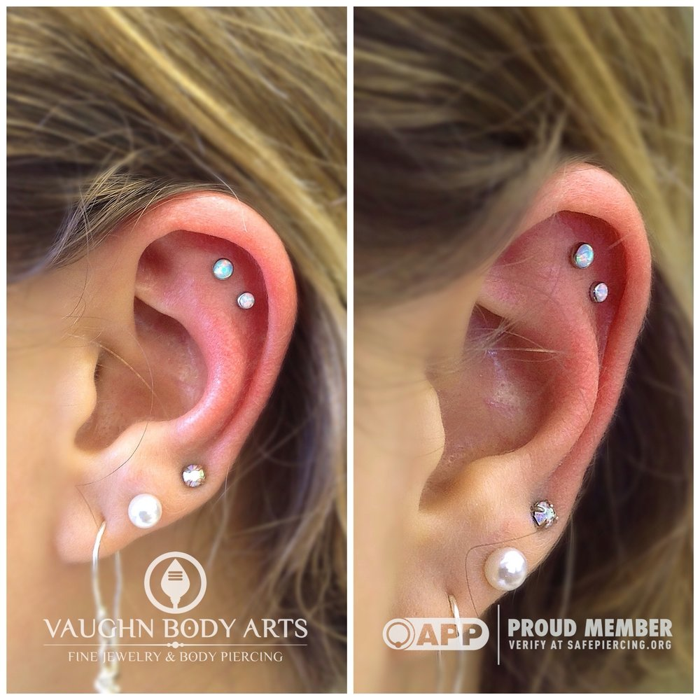 Double helix piercings with titanium jewelry from NeoMetal.