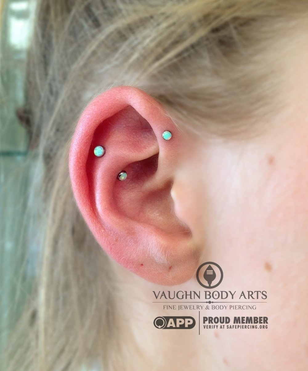 Forward helix and faux-snug piercings featuring titanium jewelry from NeoMetal.