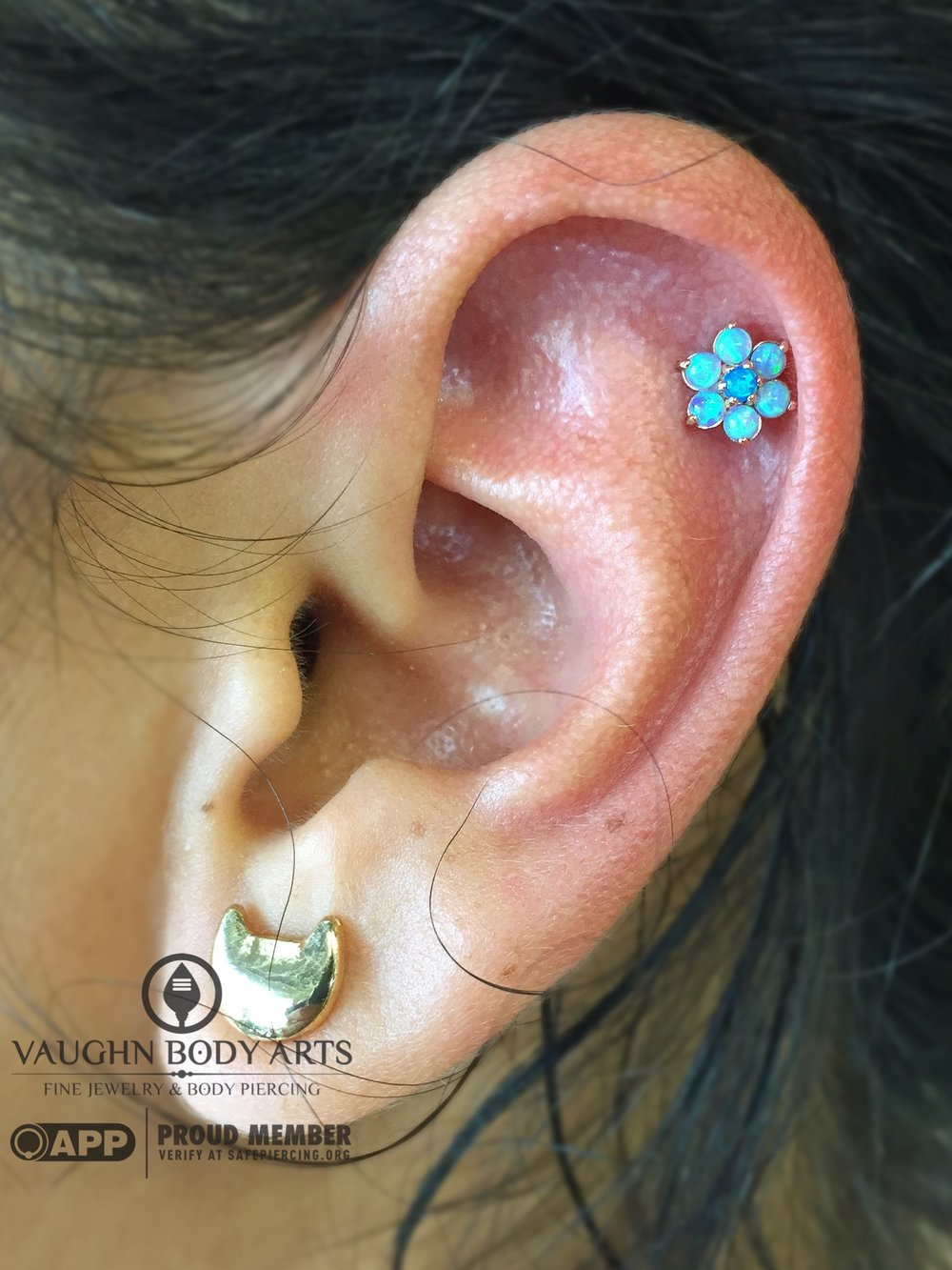 Helix piercing with an 18k yellow gold flower from Anatometal.
