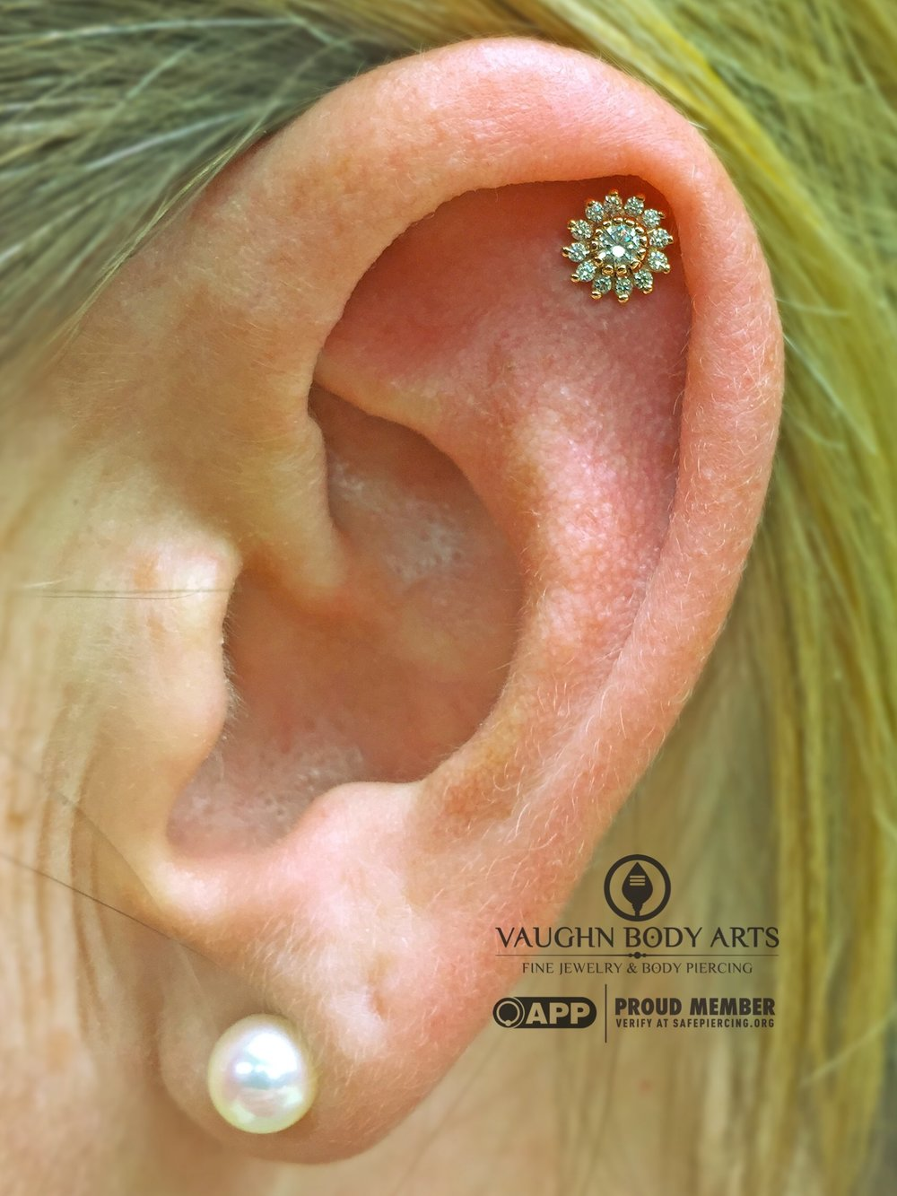 "Helix piercing featuring a 14k yellow gold ""Rose"" end from BVLA."