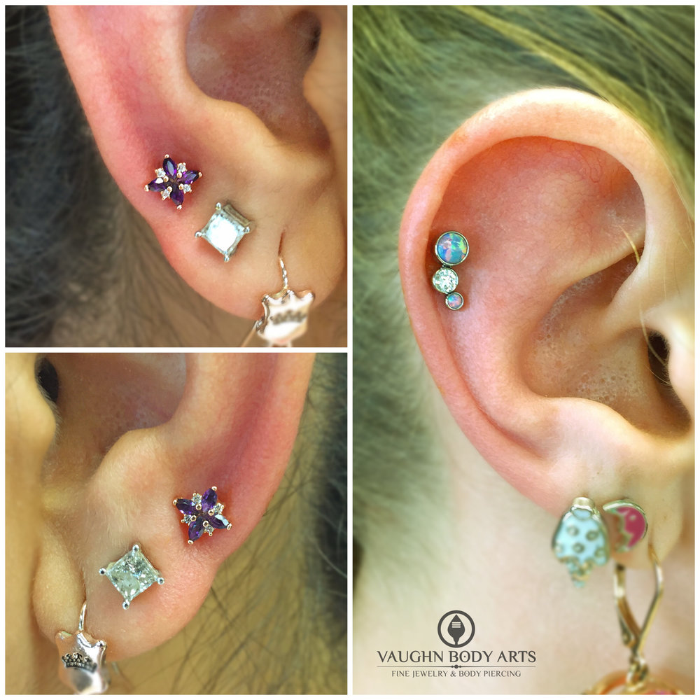 "Earlobe piercings featuring 14k rose gold ""Mini Pleades"" with cz's and genuine amethyst from BVLA. helix piercing with titanium gem cluster from Anatometal."