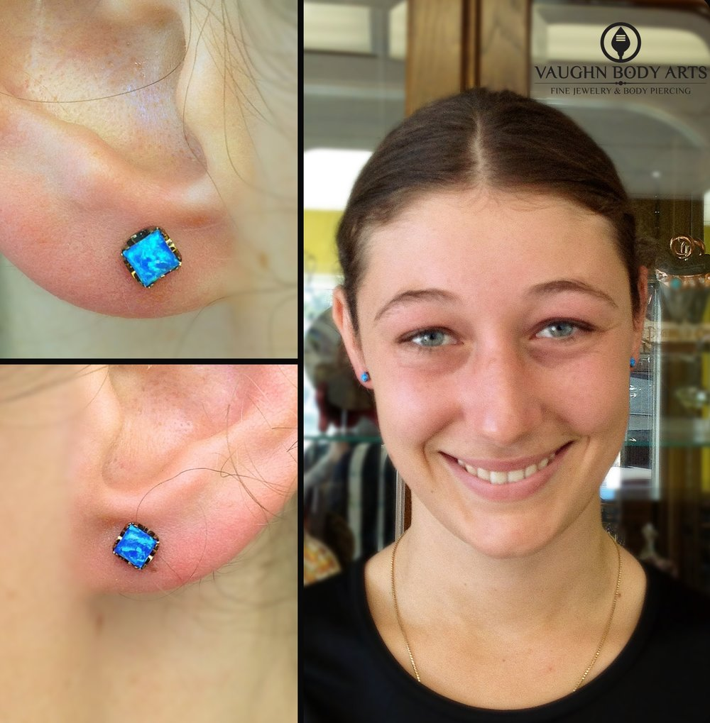 Earlobe piercings with titanium jewelry from Anatometal.