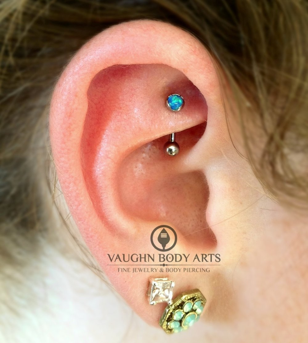 Rook piercing with titanium jewelry from Anatometal.