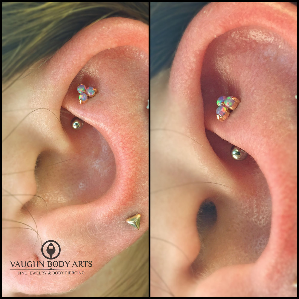 "Rook piercing with an 18k rose gold and lavender opal ""Trio"" end from Anatometal."