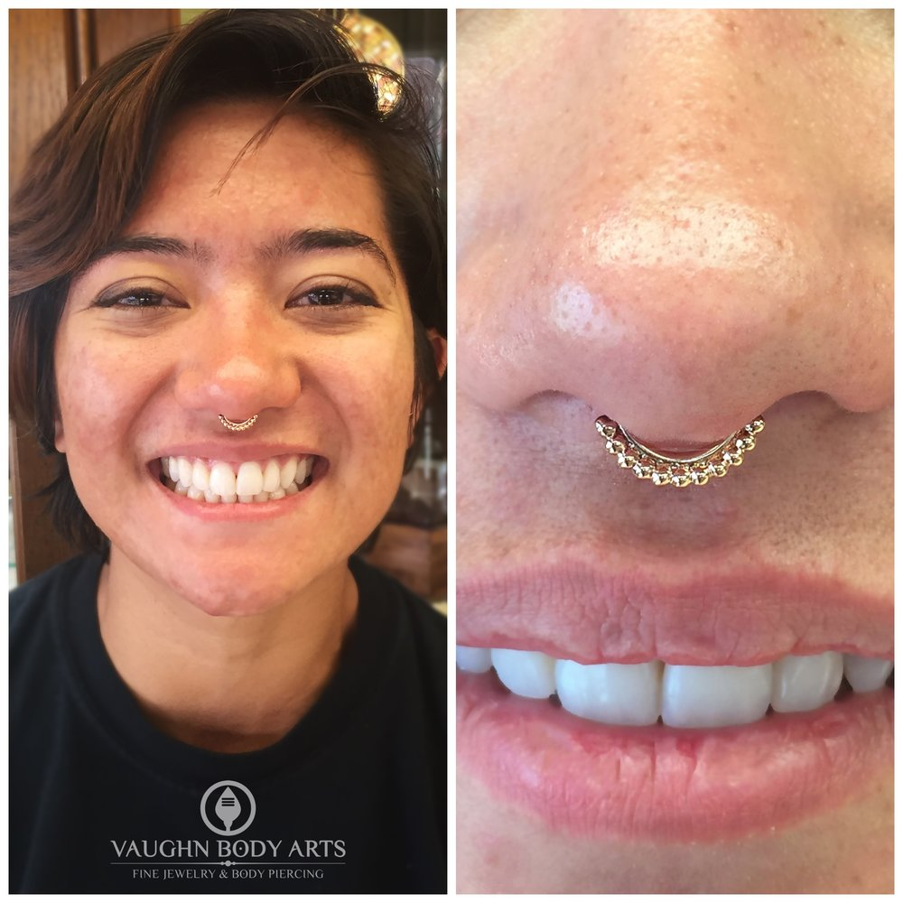 "Septum piercing with an 18k rose gold ""Vaughn"" ring from Anatometal."