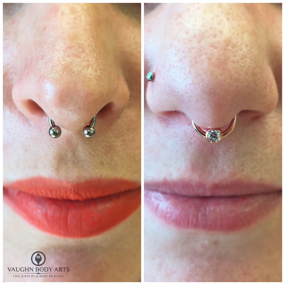 Septum friends! On the left, a titanium circular barbell, on the right an 18k rose gold and cz captive bead ring. Jewelry from Anatometal.