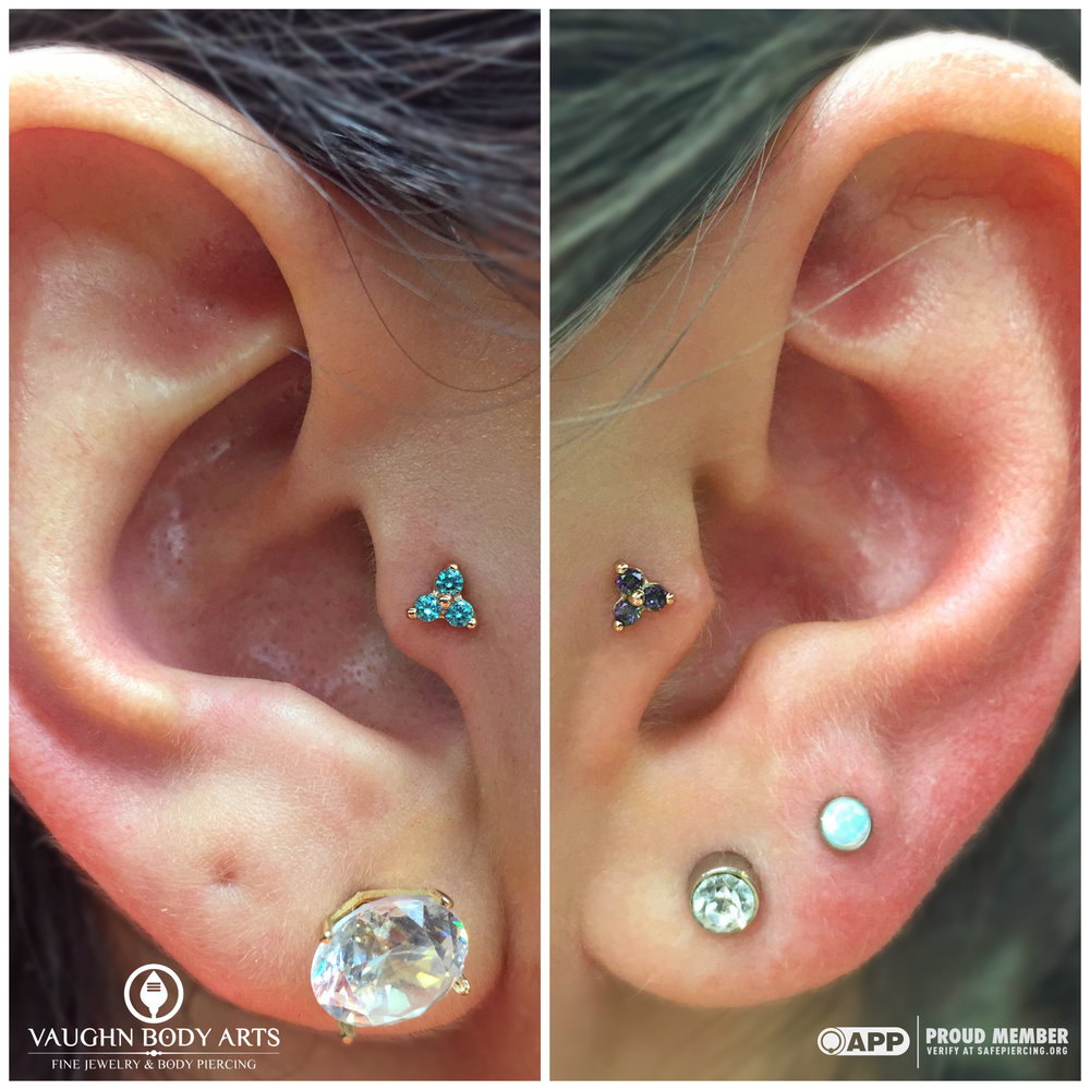 Friendship tragus piercings! On the left: 14k rose gold tri-prong cluster with mint green cz's, on the right: 14k rose gold with mystic topaz. Jewelry from BVLA.