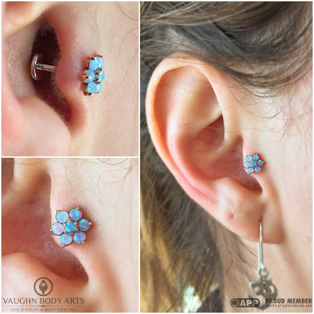 Tragus piercing with an 18k rose gold and opal flower from Anatometal.