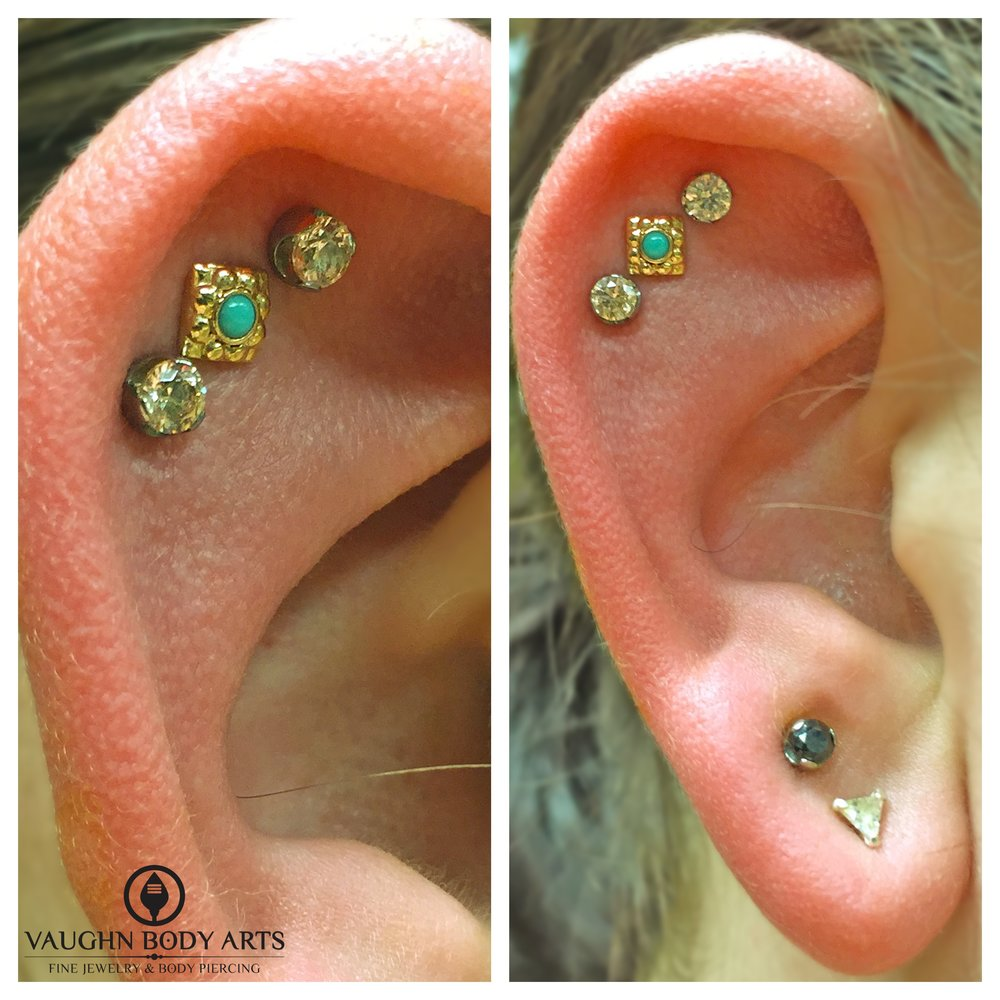 "Triple helix piercings featuring an 18k yellow gold and turquoise ""Kira"" end and titanium jewelry from Anatometal."