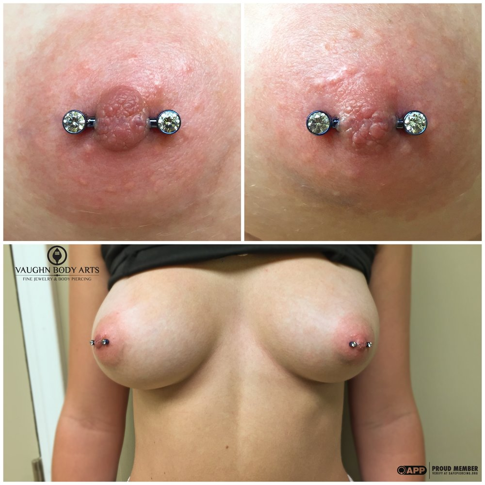 Paired nipple piercings with titanium jewelry from Anatometal.
