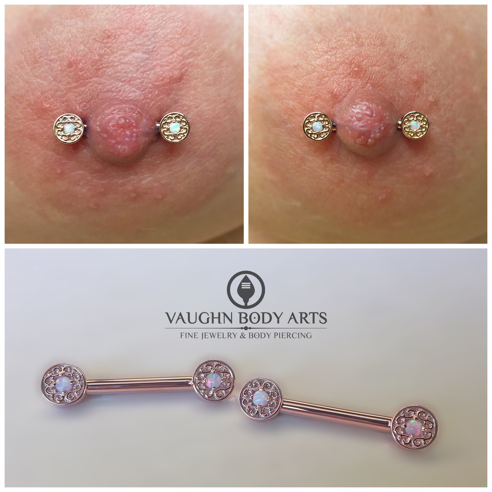 "Paired nipple piercings featuring 14k rose gold and opal ""Elizabeth"" barbells from BVLA."