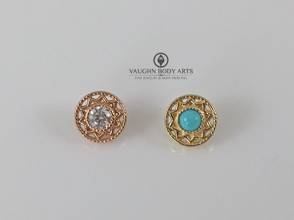 """Bandera"" ends from BVLA, 14k rose gold featuring a clear cz on the left, yellow gold and turquoise on the right."